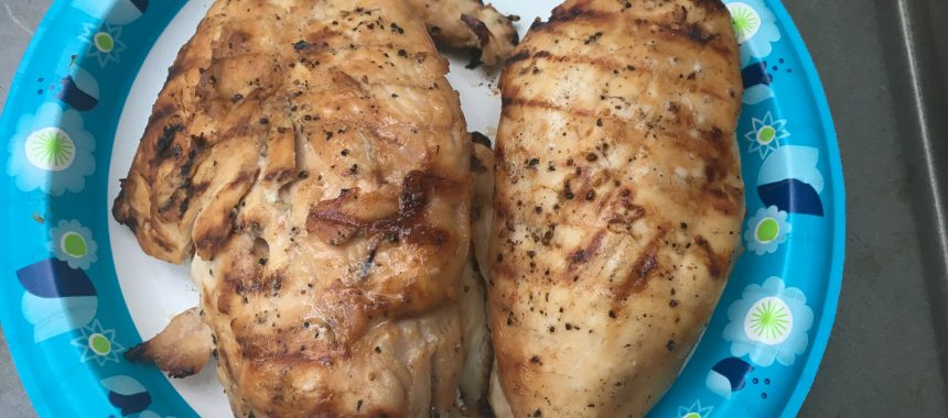 Grilled Peach Balsamic Chicken Breasts with Sea Salt & Pepper