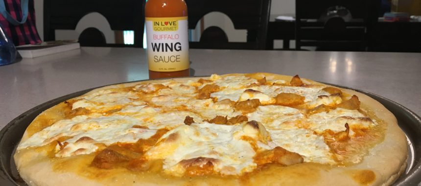 Knock Your Socks Off Buffalo Chicken Pizza with Mozzarella & Cream Cheese.