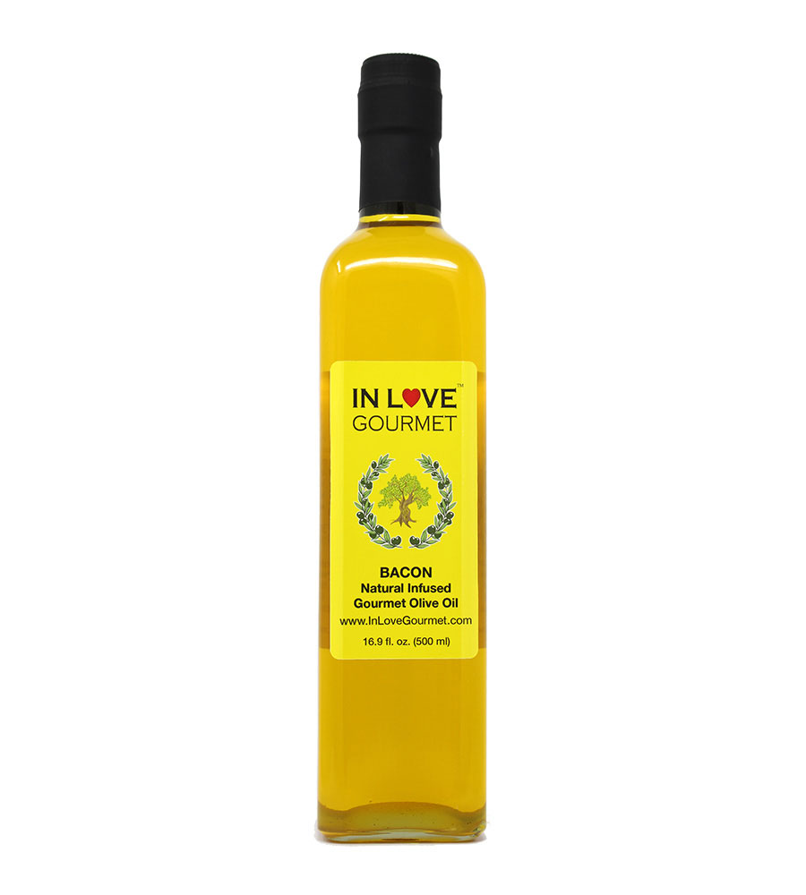 Bacon Natural Flavor Infused Olive Oil 500ml-16.9oz Best Bacon Oil for Meats, Veggies, Popcorn & Breads