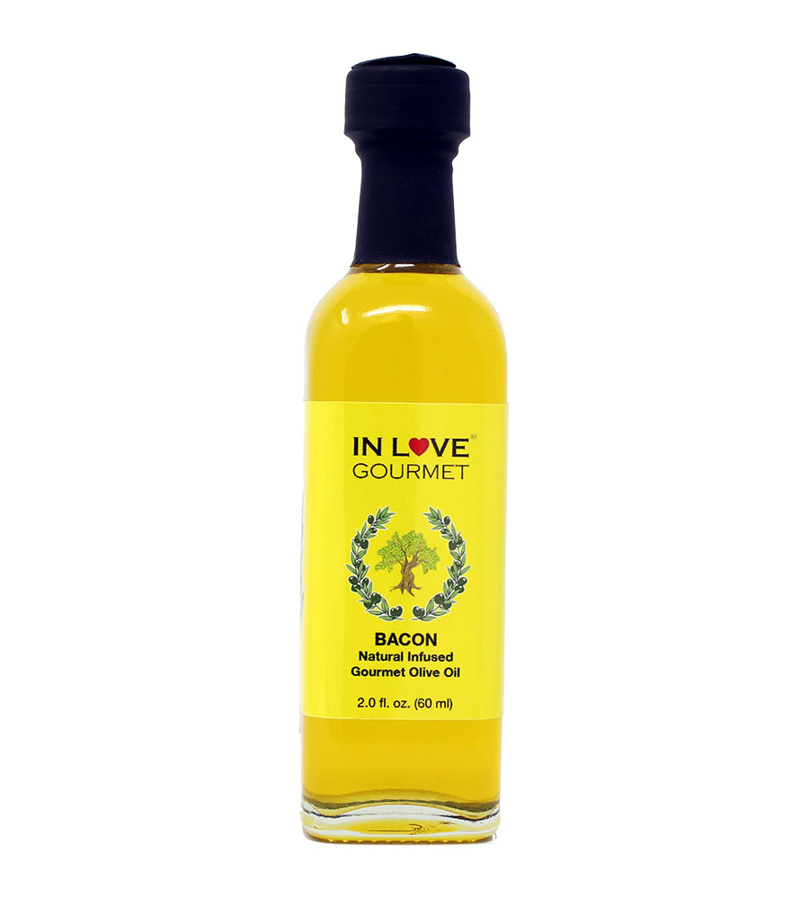 Bacon Natural Flavor Infused Olive Oil 60ml-2oz (Sample Size) Best Bacon Oil for Meats, Veggies, Popcorn & Breads
