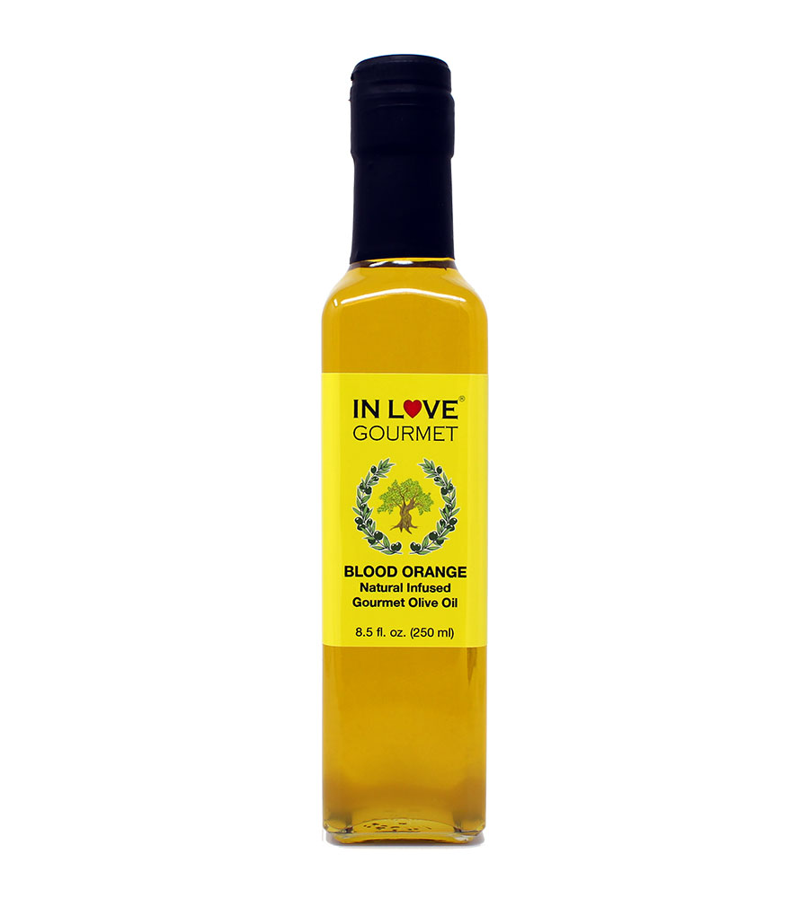 Blood Orange Natural Flavor Infused Olive Oil 250ML/8.5oz Great as Stand Alone Green Salad Dressing