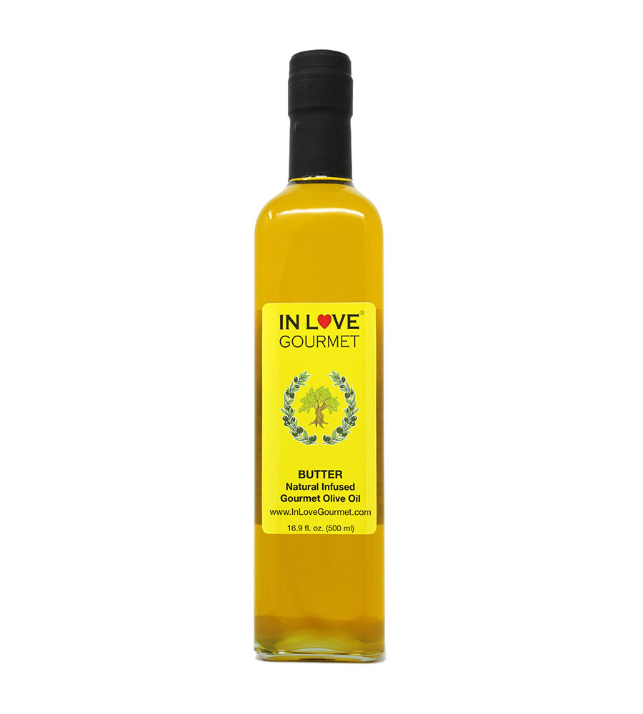 Butter Natural Flavor Infused Gourmet Olive Oil 500ml-16.9oz Awesome Buttery Flavored Extra Virgin Olive Oil.