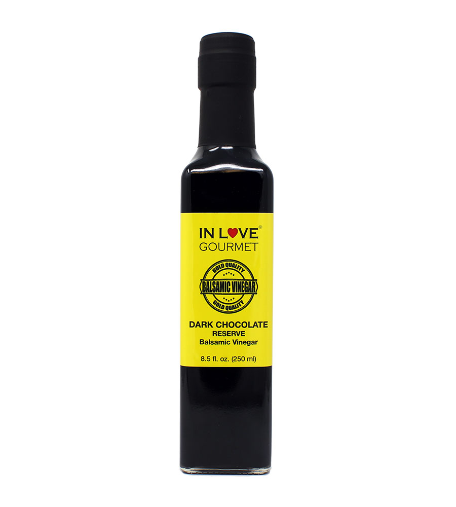 Dark Chocolate RESERVE Balsamic Vinegar 250ml/8.5oz Great for Fruit Fondues, Chocolate Desserts, and Pastries, Chocolate Glaze for Grilled Steaks, YUM