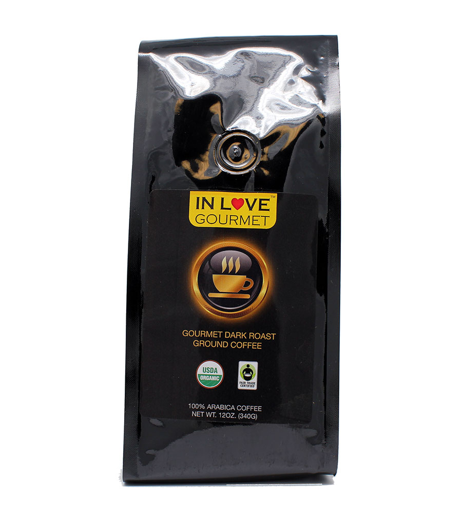 Dark French Roast Organic Coffee, 12 oz, Ground Coffee, Bold Strong Rich Intense Good Coffee! Great Brewed or Espresso, USDA Certified Fair Trade Organic, 100% Arabica Coffee, NON-GMO