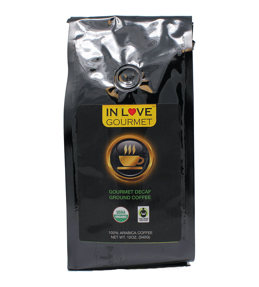 DECAF 12oz, Gourmet Medium Roast Ground 100% Arabica Coffee USDA Organic, Fair Trade NON GMO