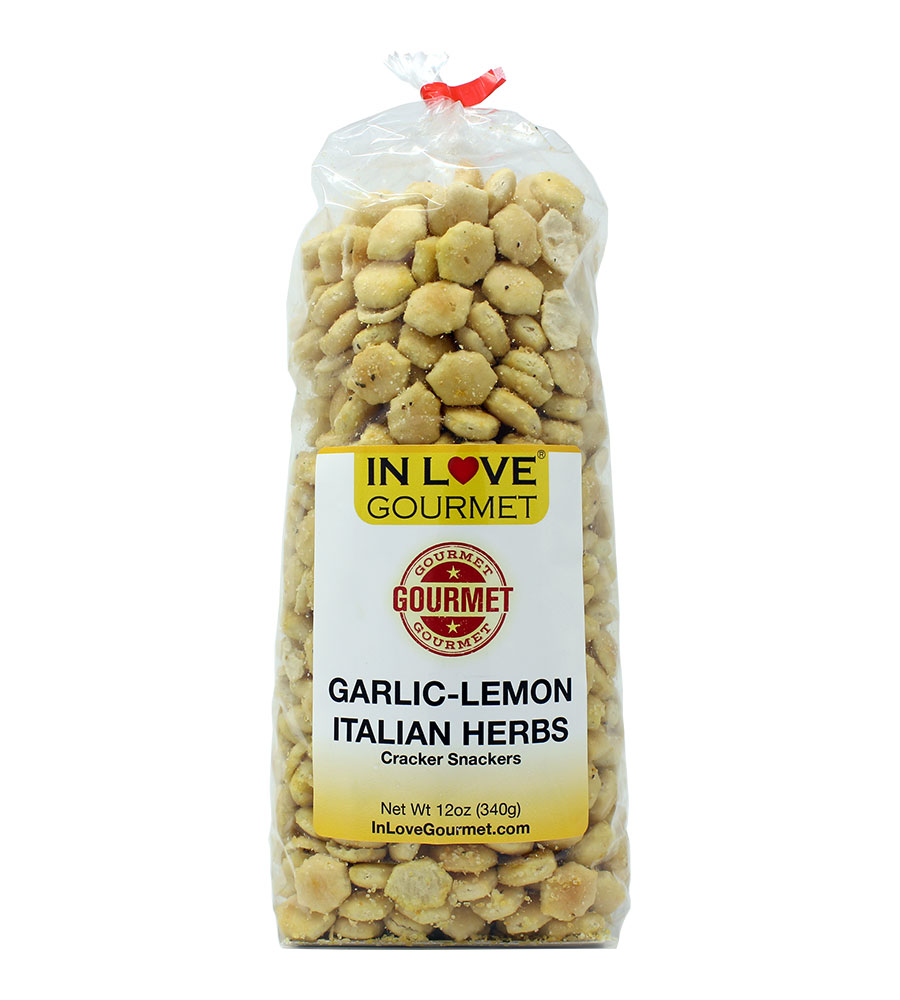 Garlic & Italian Herbs Gourmet Cracker Snackers (12oz) Great for Soups, Chili, and Delicious Snacks