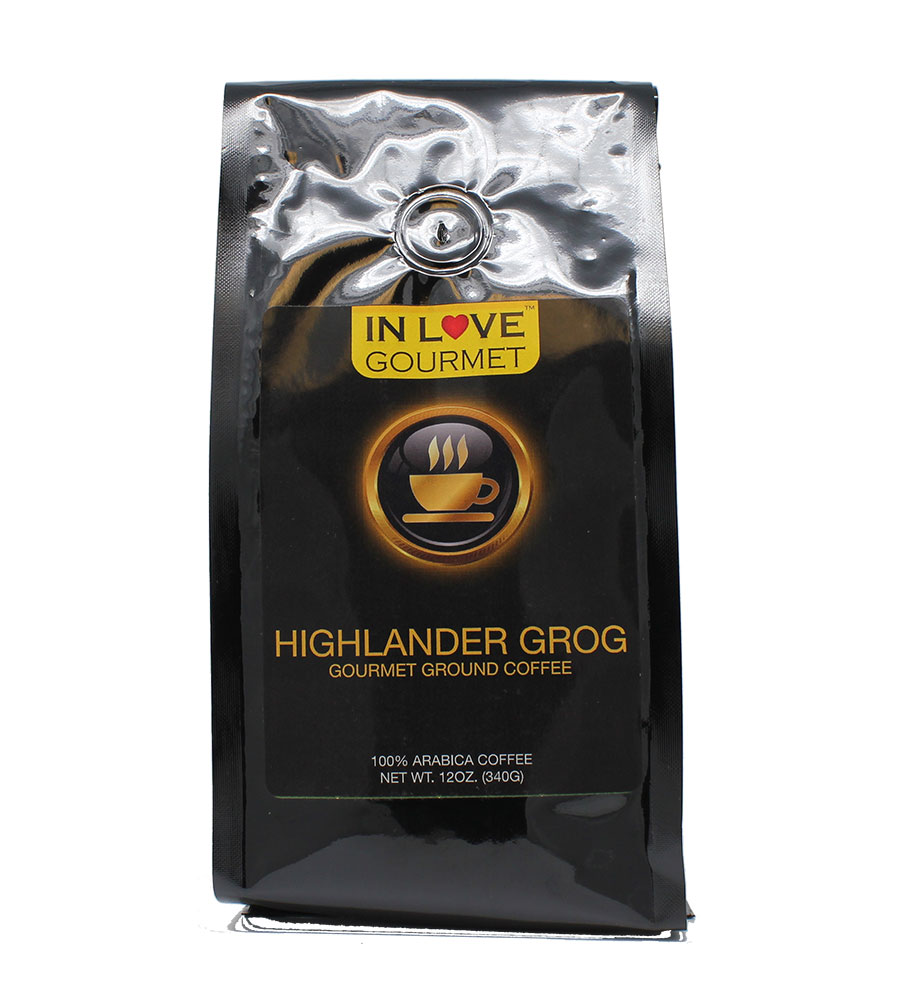 Highlander Grog 12oz, Gourmet Flavored Ground 100% Arabica Coffee