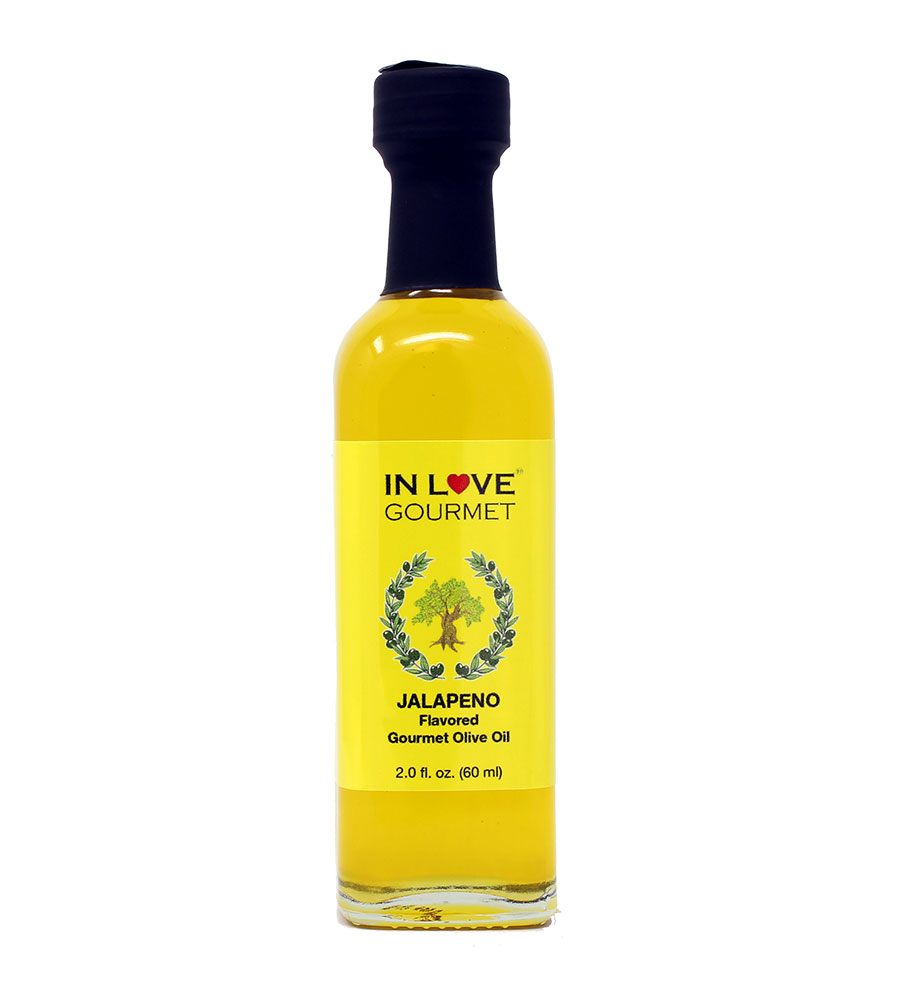 Jalapeno Natural Flavor Infused Olive Oil 60ML/2oz (Sample Size) Jalapeno Lovers Blend, Spice Up Your Food with Authentic Jalapeno Flavor