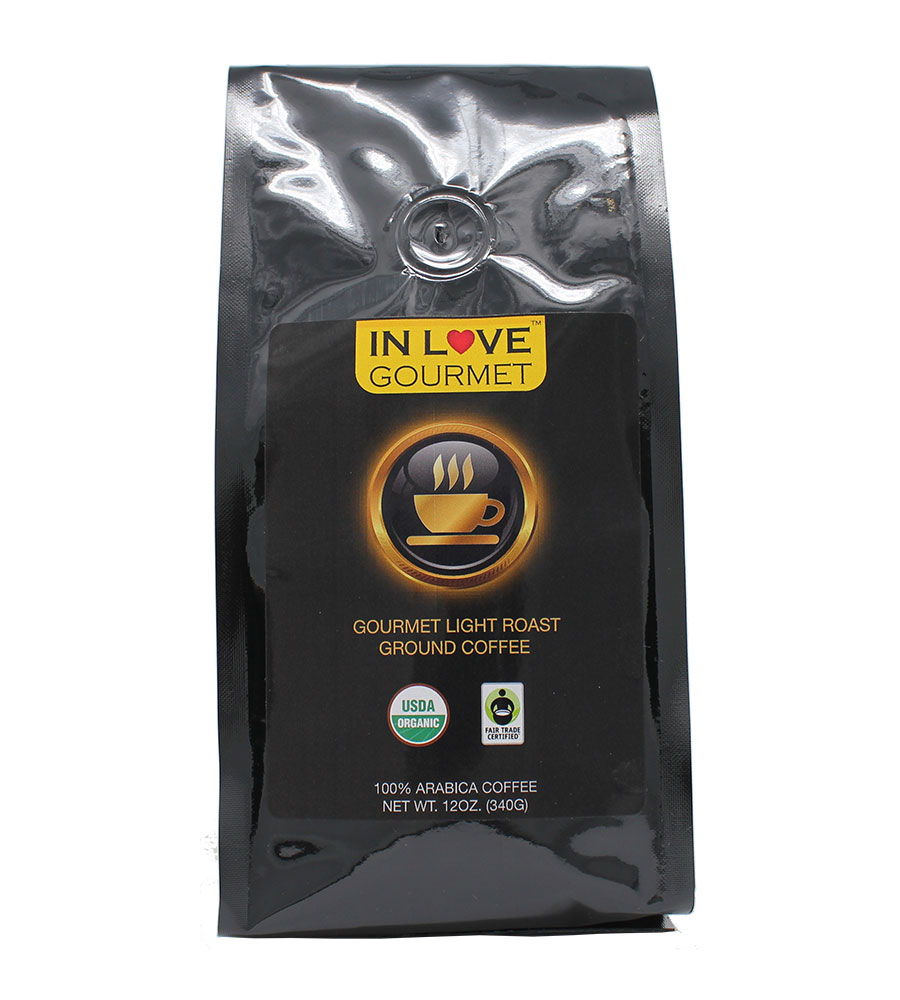 Light Roast 12 oz, Organic Ground Coffee, 100% Arabica Coffee, USDA Certified Organic, NON-GMO, Fair Trade Certified, Gourmet Coffee