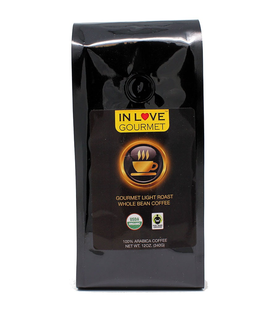 Light Roast 12 oz, Organic Whole Bean Coffee, 100% Arabica Coffee, USDA Certified Organic, NON-GMO, Fair Trade Certified, Gourmet Coffee
