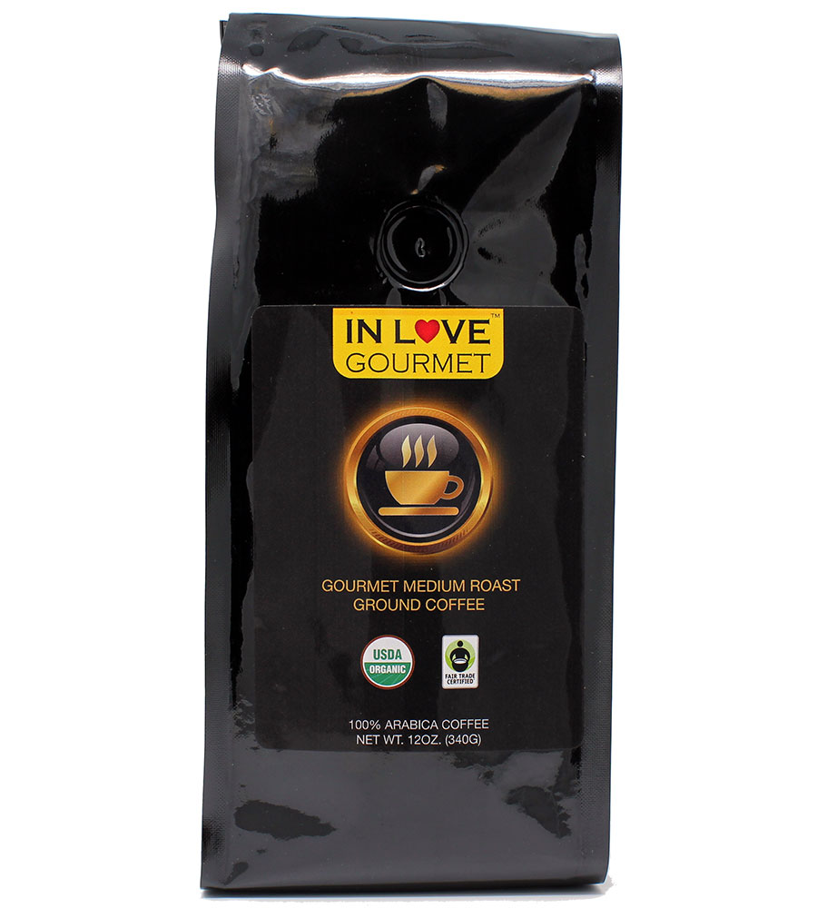 Medium Dark Roast 12 oz, Organic Ground Coffee, 100% Arabica Coffee, USDA Certified Organic, NON-GMO, Fair Trade Certified, Gourmet Coffee