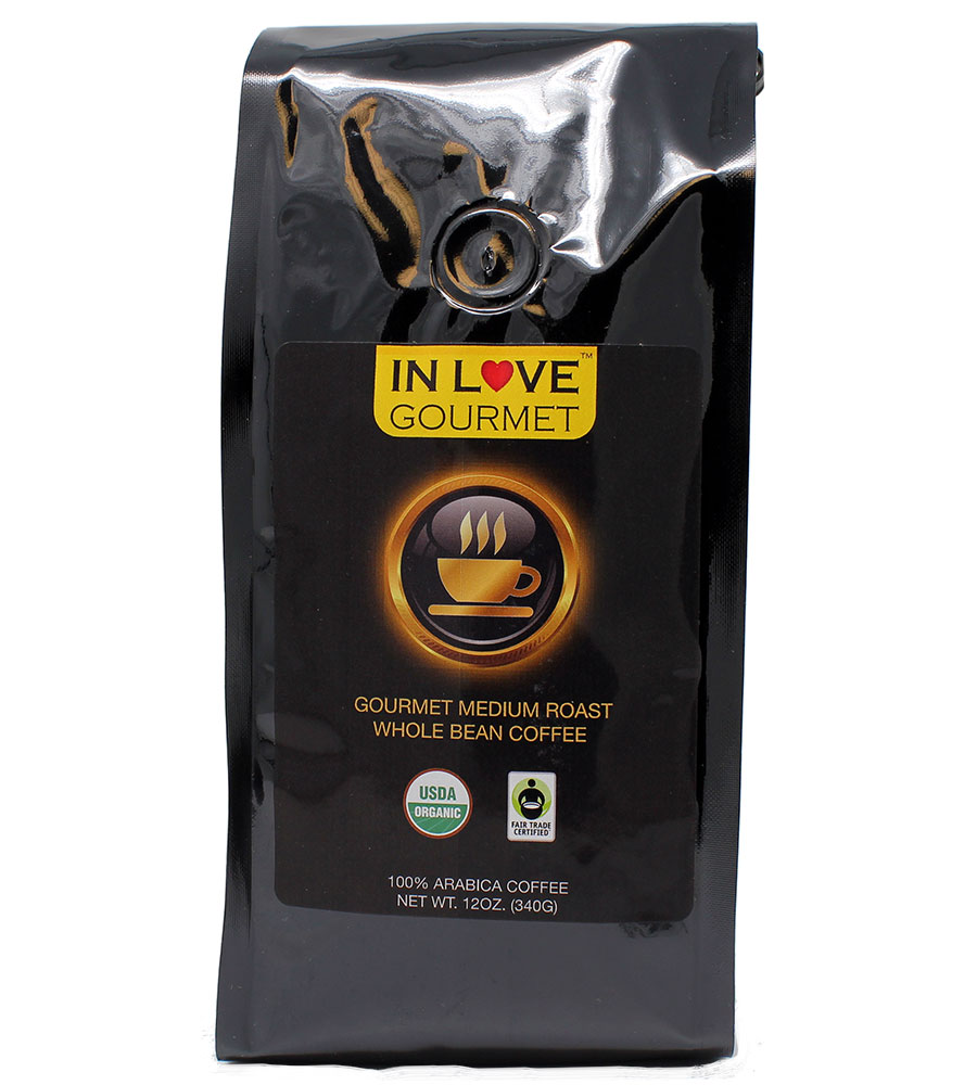 Medium-Dark Roast 12 oz, Organic Whole Bean Coffee, 100% Arabica Coffee, USDA Certified Organic, NON-GMO, Fair Trade Certified, Gourmet Coffee