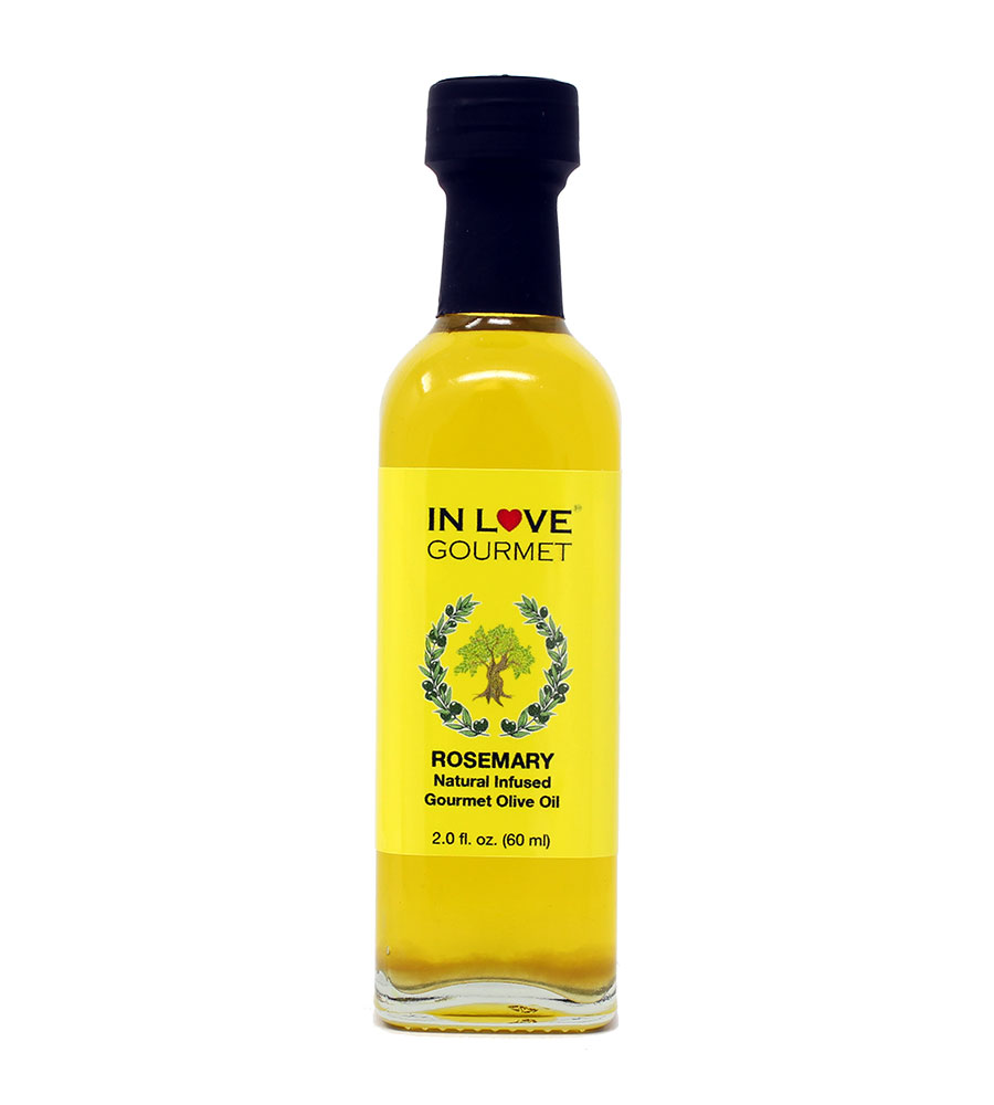 Rosemary Natural Flavor Infused Olive Oil 60ML/2oz (Sample Size) Great Tossed with Pasta, on Salads, on Lamb or Fish, as a Sandwich Spread, for Bread Dipping and in Marinades