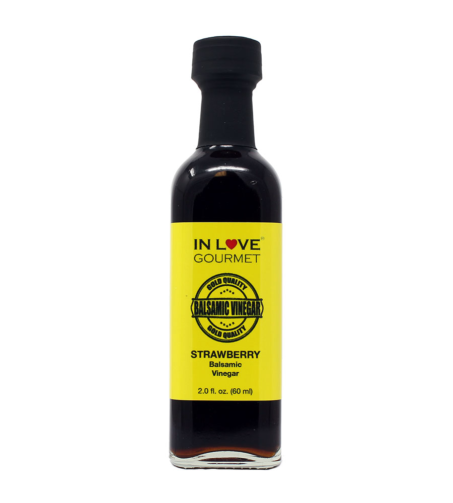 Strawberry Balsamic Vinegar 60ML/2oz (Sample Size) by In Love Gourmet Great on Red or White Meats, Bacon, Salads, Fish, Mushrooms, Ice Cream, Fruit Salads, and Fresh Soft Mild Cheeses