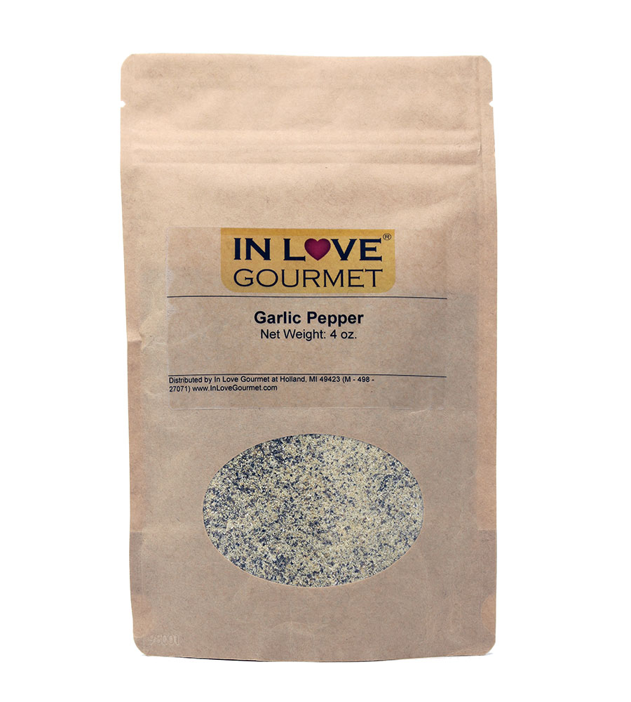 Garlic Pepper Seasoning 4oz Pouch - Great on Chicken, Steaks and Veggies.