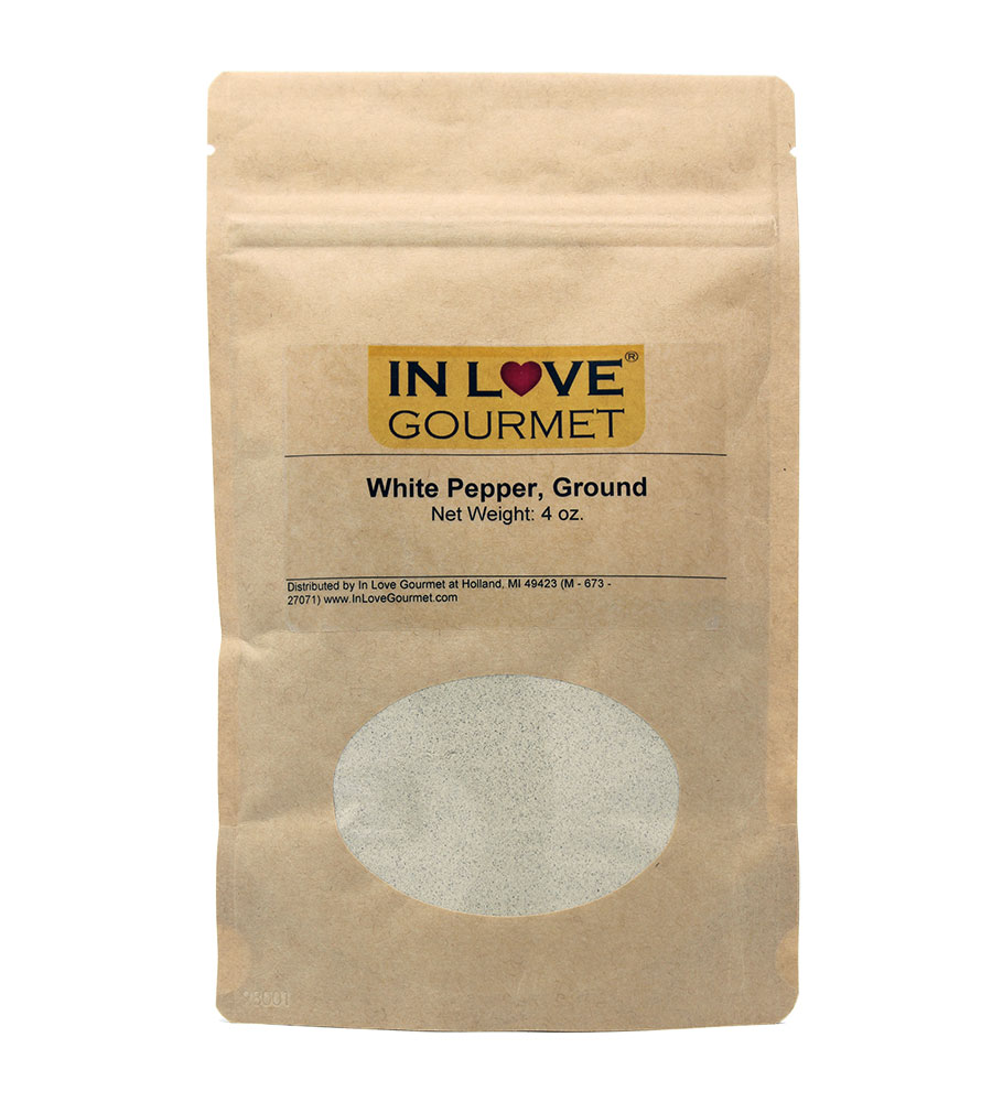White Peppercorn Ground 4oz Pouch - Use White Pepper in Recipes Where you Desire the Sharp, Crisp Flavor of Black Pepper, But not the Color.