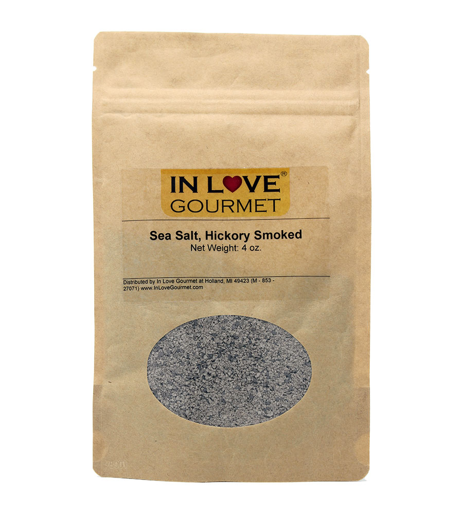 Hickory Smoked Sea Salt 4oz Pouch - Hickory Smoke is Synonymous with Southern Cooking and Works Magic with Ribs, Burgers, Red Meat, Turkey, and Chicken